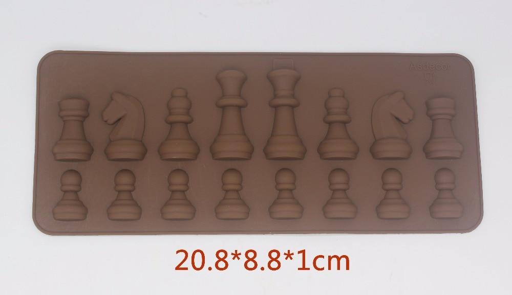 Molde de chocolate de silicona de ajedrez internacional de 16 agujeros molde de decoración de pasteles fabricante de cubitos de hielo