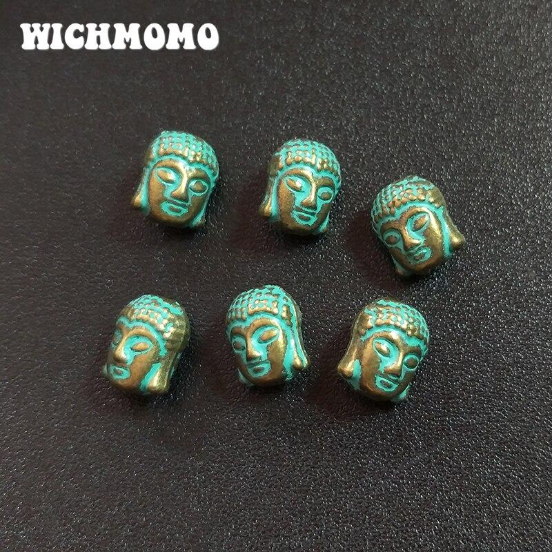 10 шт./лот 10 мм Античные пэтина из цинкового сплава, зеленые буддийские амулеты на голову, шарики для браслета, ожерелий, рукоделия, аксессуары