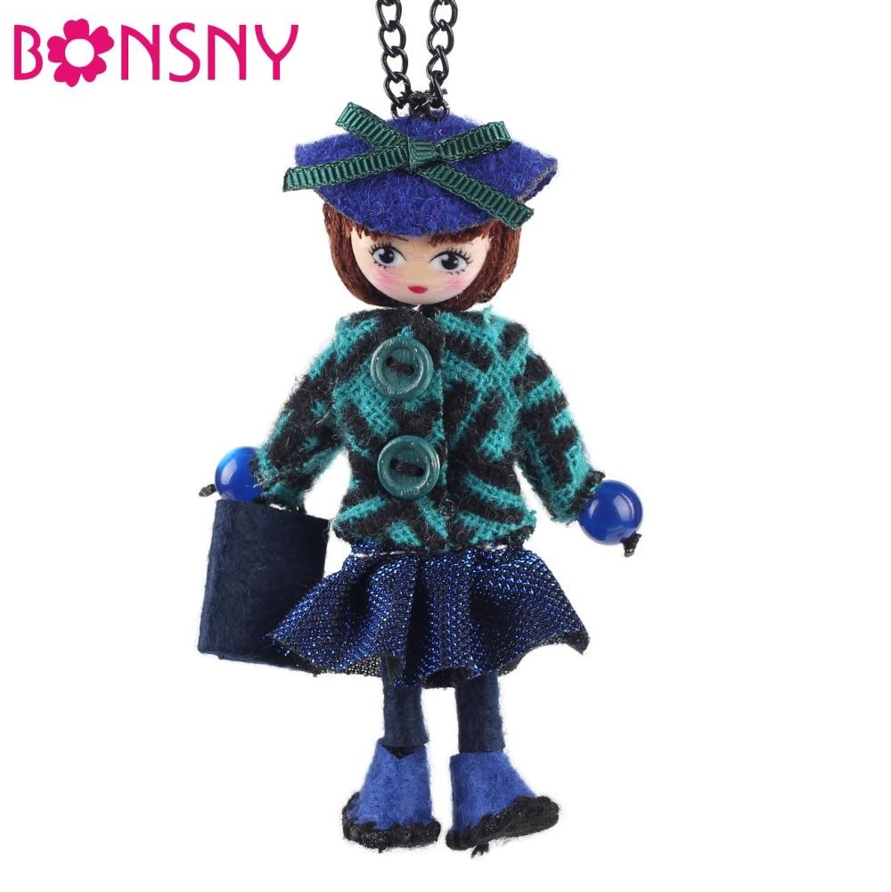 Bonsny, collar para muñeca hecho a mano, colgante largo de tela francesa, 2016, de tendencia para Nueva joyería primavera para mujeres, niñas, accesorios de encanto