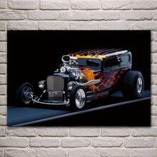 هوت رود السيارة المعدلة مخصص الرياضة سيارة غرفة المعيشة الديكور المنزل جدار ديكور فني إطار خشبي النسيج بطباعة KH425