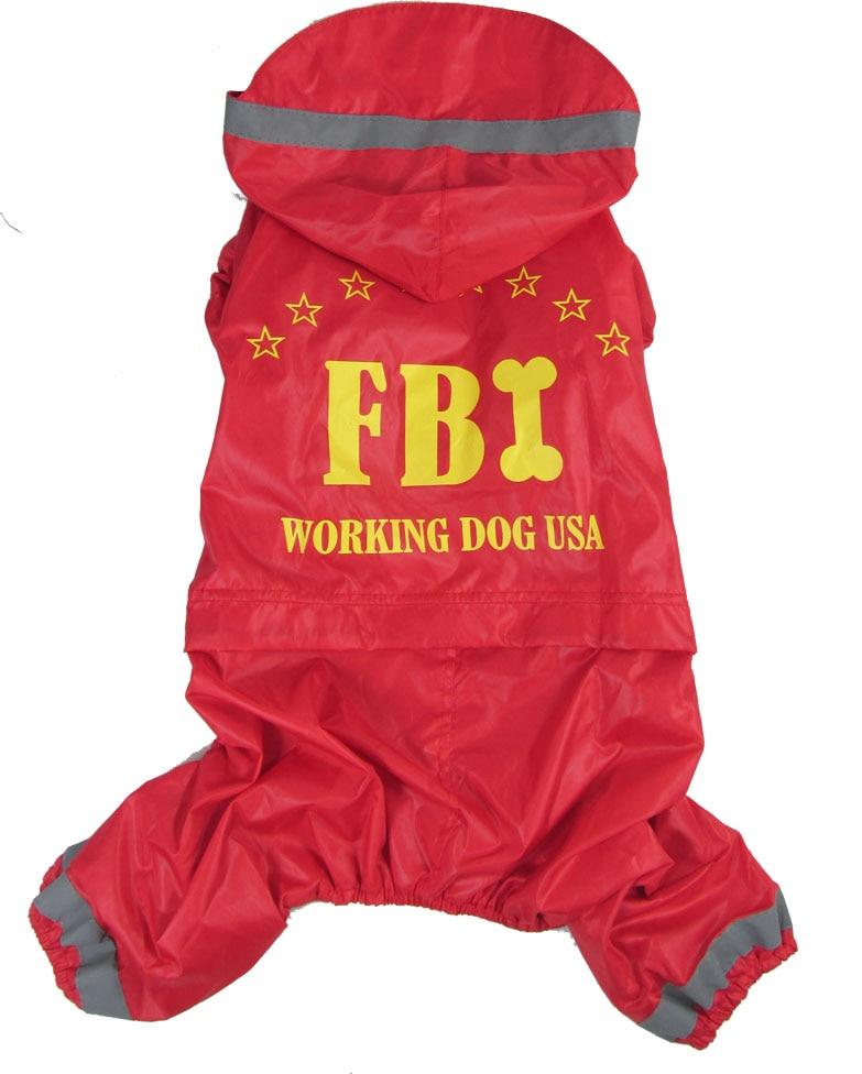 "Chubasquero para perros y gatos, Chaqueta tipo mono con estampado de letras ""FBI"", cazadora impermeable para mascotas, 2 colores"