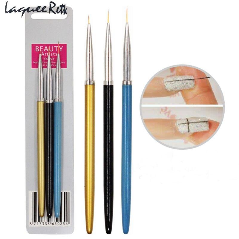 3 pçs/set Escova Da Arte do Prego Da Liga Lidar Com Importação Nylon Cabelo Forro Arte Do Prego UV Gel Pintura Desenho Pen Tool