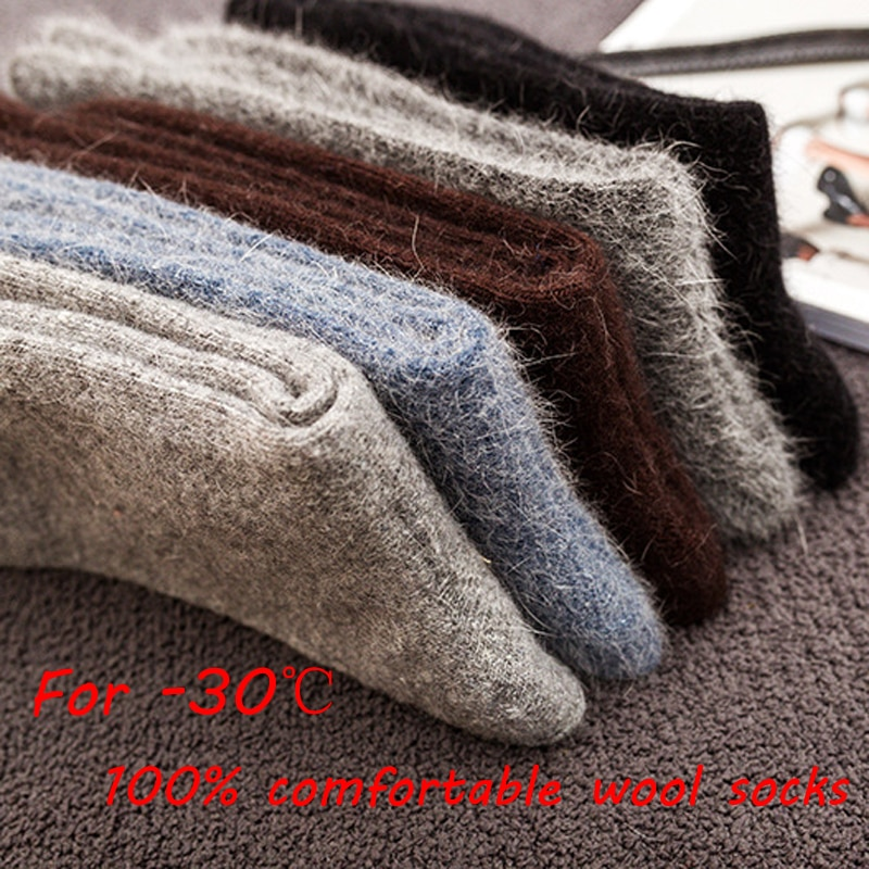 Носки мужские, высококачественные, толстые, из ангольского кроличьего и меринового меха, 3 пар/лот, классические, деловые, зимние, Длинные