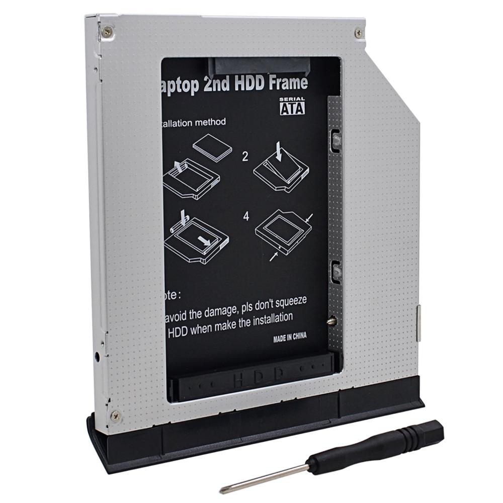 """Para Dell Latitude E6320 E6420 E6520 E6330 E6430 E6530 optibay Alumínio HDD caddy 9.5mm SATA 3.0 2.5 """"DVD SSD HDD Adaptador Caso"""