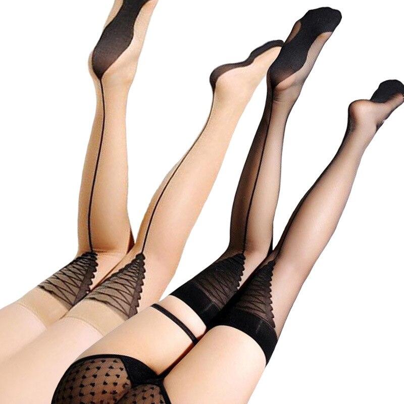 2019 Novo Jacquard Voltar Seam Meias Mulheres Sexy Tentação Transparente Stocking Longa Sobre o Joelho Alta Meias de Nylon Preto