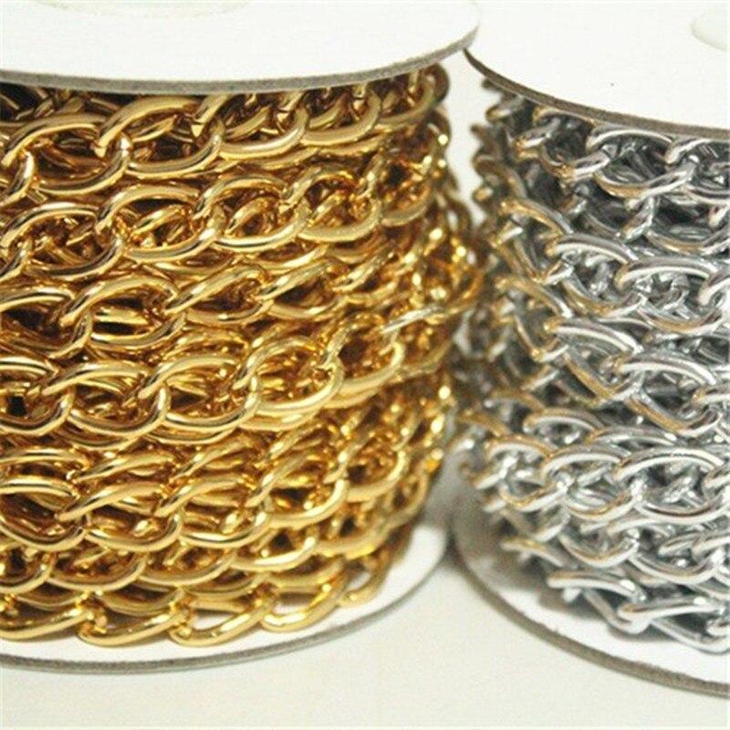 1 рулон золотого и серебряного кабеля, 10 ярдов, цепь с открытым соединением, размер 14 мм x 9 мм, цепь для ювелирных изделий, бесплатная доставка