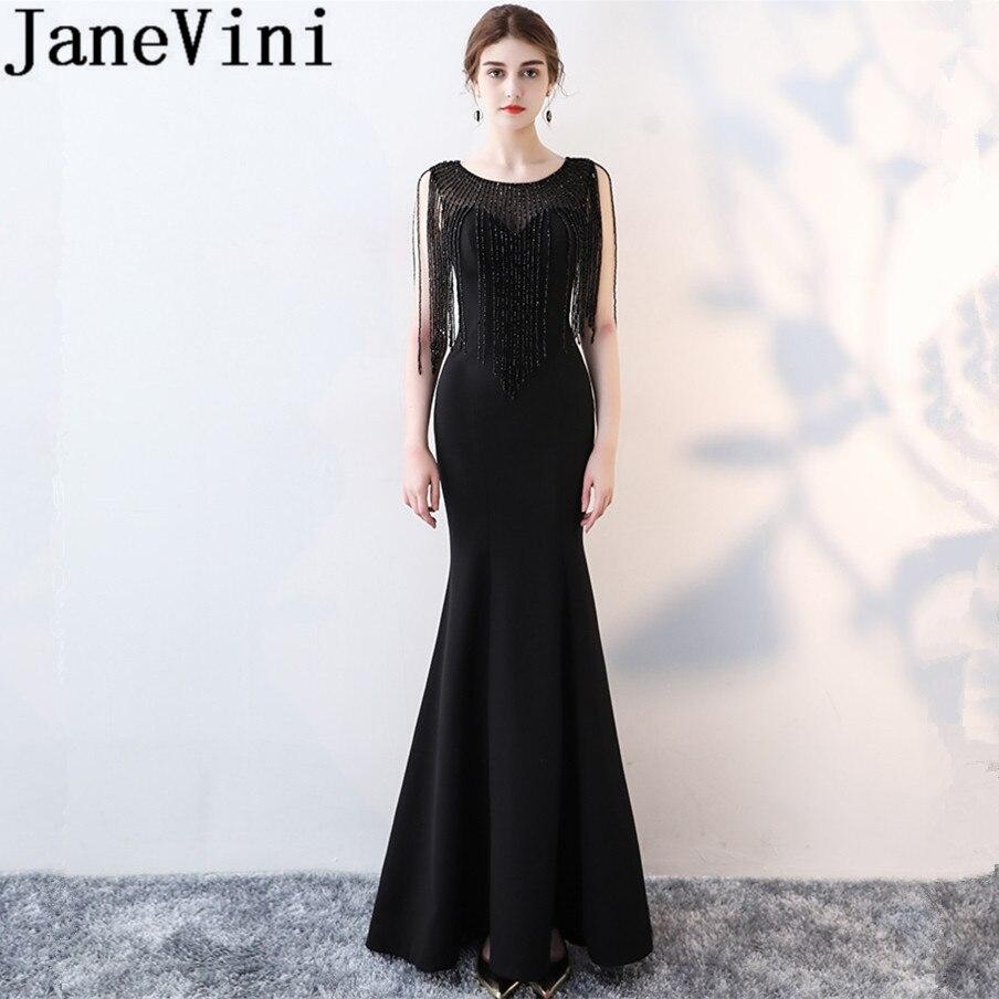 Vestidos JaneVini, Vestidos sexis negros con cuentas para madre de la novia,...