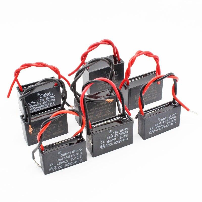 Конденсаторы CBB61 2pcst 1/2/4/6/10/15uF 450V AC CBB металлизированная полипропиленовая пленка конденсатор для двигателя запуска потолочного вентилятора