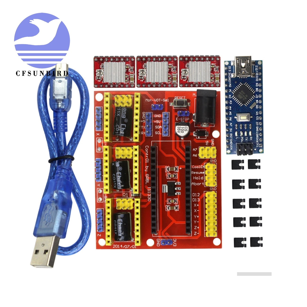 Juego de controladores paso a paso 3DV4 CNC Shield V4 + Nano 3,0 + 3 uds A4988 Reprap