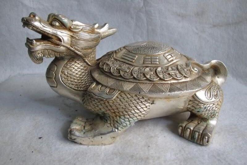 Chino blanco cobre plata Feng Shui Yin Yang chismes moneda dragón tortuga