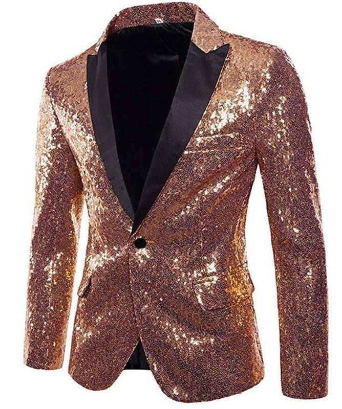Precioso abrigo rosa dorado para hombre, Chaqueta de traje con lentejuelas brillante para hombre, esmoquin con un botón para banquete fiesta de boda graduación