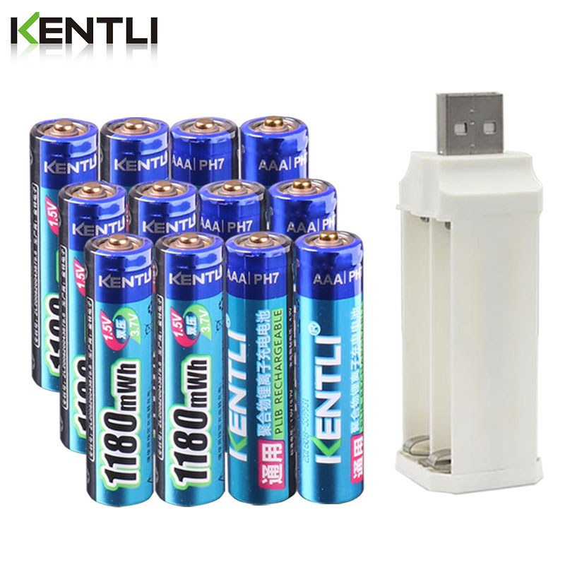 KENTLI 1.5v 1180mWh aaa polymer lithium li-ion rechargeable batteries battery + 4 slots lithium li-ion charger недорого