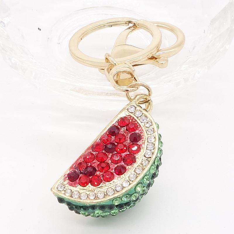 Llavero bolso sandía Diamante de imitación CZ llavero abalorio colgante regalo