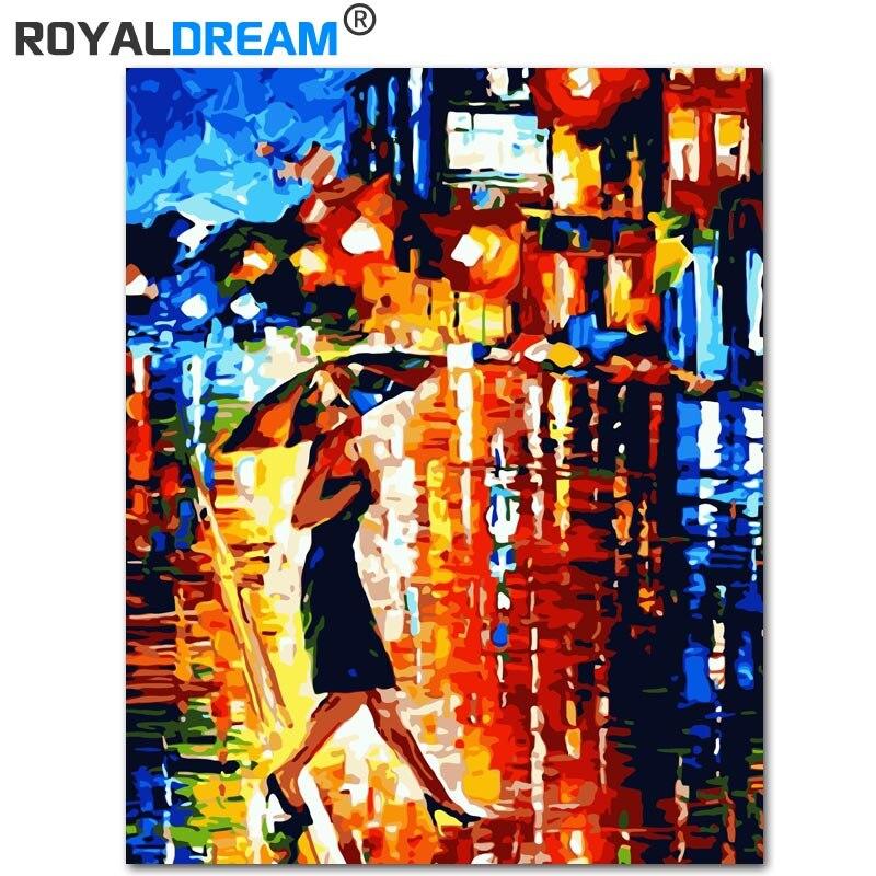 ROYALDREAM paraguas belleza bricolaje pintura por números lienzo pintado a mano pintura hogar pared arte imagen para sala de estar regalo único