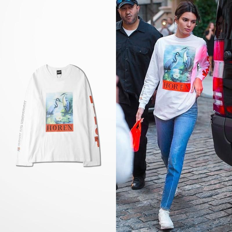 Original Design Tide Brand Tee Kanye Hip Hop Long Sleeve T-shirt Men Gothic Letter Print High Street Dark Souls T-shirts Bieber
