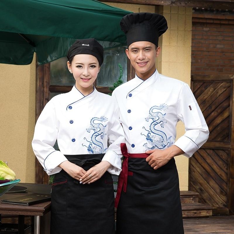 Ropa de Chef de Hotel para hombre con bordado de dragón restaurante ropa de cocina masculina chaqueta de Chef de cocina de Hotel de manga larga B-5680