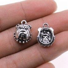 15 sztuk Charms pies głowy 13x17mm antyczne srebro kolor wisiorek pies głowy Charms dla tworzenia biżuterii biżuteria ustalenia