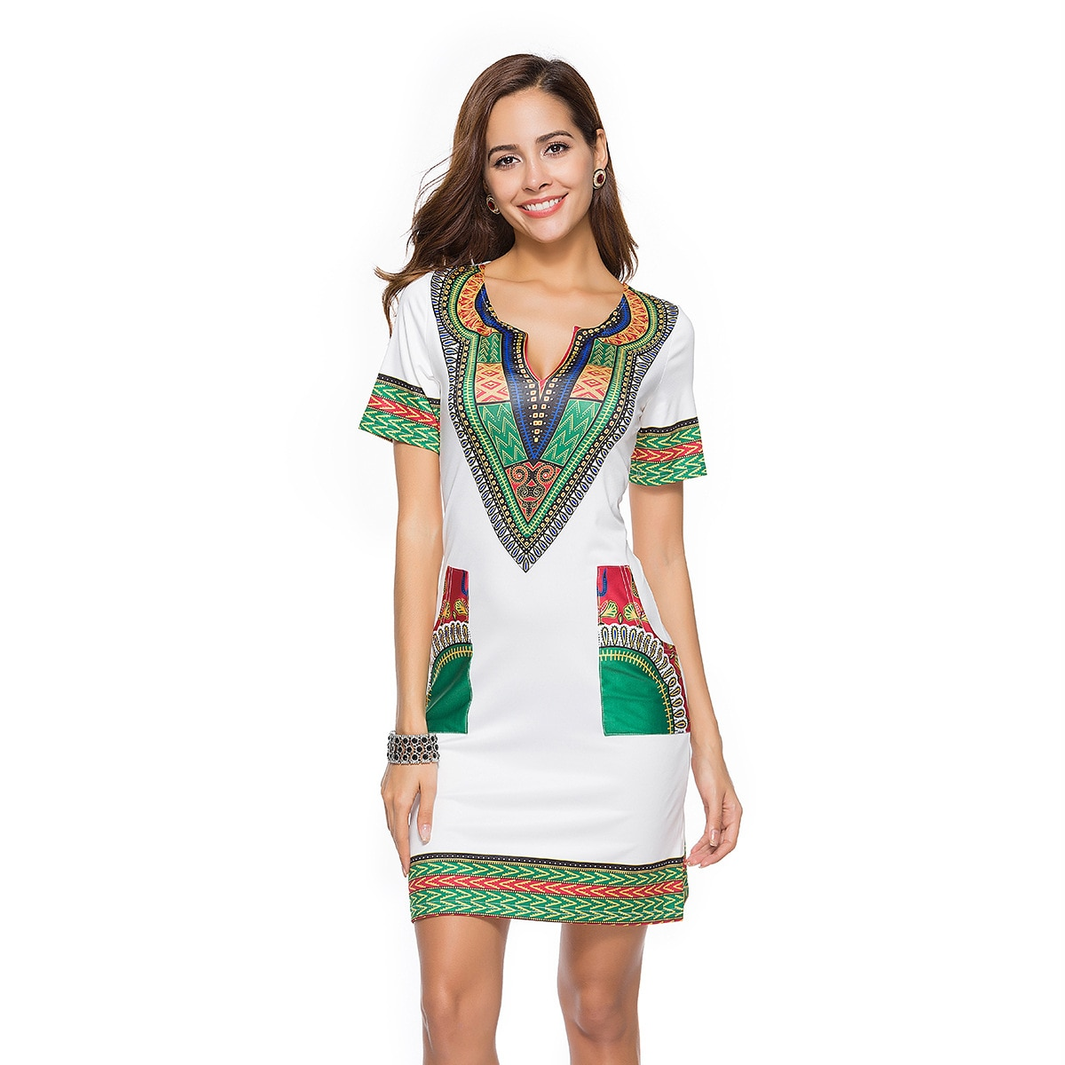 Summer Dress Women Tight Ethnic Style Print Sexy Slim Vestidos Vintage Lantern Sleeve Casual Party Robe Femme