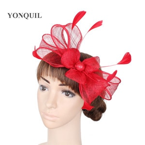 Charming Sinamay Red Ladies Black Cocktail Party Wedding Headwear Fashion Fascinators Hats Hair Fancy Feather Accessories MYQ093
