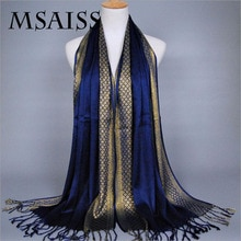 MSAISS-écharpe de printemps pour femmes   Écharpe en fil dor 180*60CM, écharpe à paillettes de haute qualité, foulard musulman à paillettes