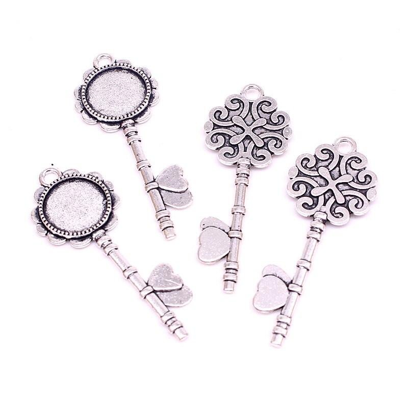 Сладкий Колокольчик 20 штук два цвета металлический сплав ключи 20*52 мм (Подходит 14 мм диаметр) круглый кабошон кулон настройки ювелирные изде...