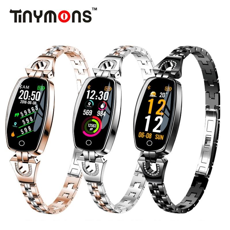 Tinymons H8 dama pulsera inteligente mujer Corazón de Monitor de sueño banda inteligente presión arterial inteligente rastreador de Fitness para IOS/ android