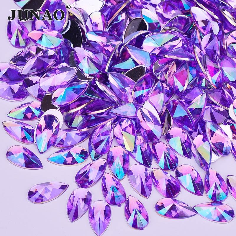 JUNAO 8x13mm 9x18mm Purple AB Crystal Drop Rhinestone Applique Flat Back Acrylic Crystal Stone Non Hotfix Strass Scrapbook Beads