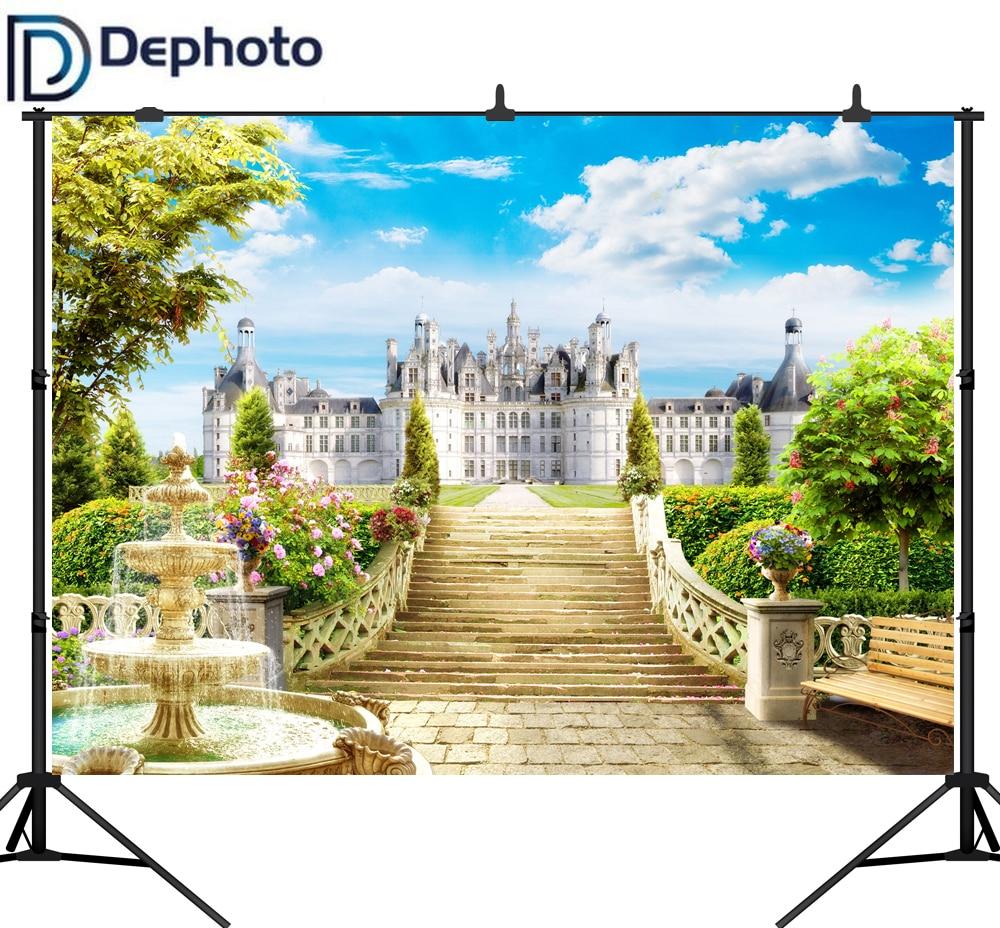 Fondo fotográfico de vinilo DePhoto, fondo fotográfico Floral con estampado de aceite, Fondo de foto con fuente de paisaje, Castillo de Manor europeo