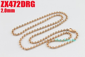 Rose golden color 2mm stainless steel necklace bead chain beaded necklace ball chain 20pcs  fashion jewelry ZX472DRG