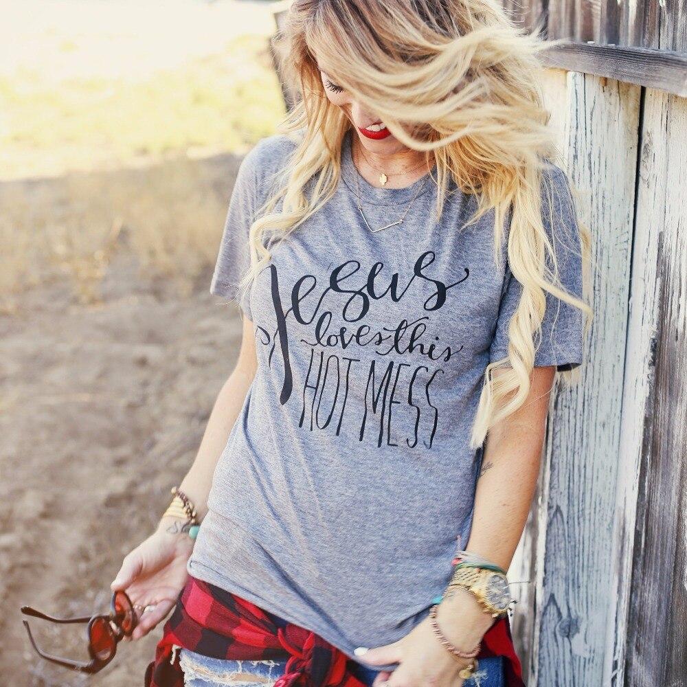 Jesus Liebt Diese Heißer Chaos Christian T-Shirt Frauen Nette Mode Tumblr Tops Sommer Casual Kurzarm Grau T glauben mädchen t-shirt