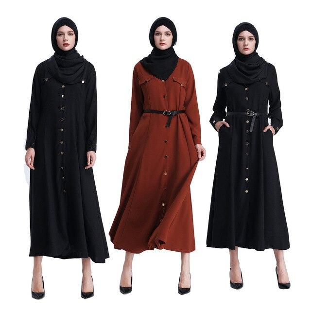 Ropa musulmana turca islámica mujer Abaya Femme vestido de Camisa larga Kaftan saudí Dubái Arabia Malasia moda bata con cinturón