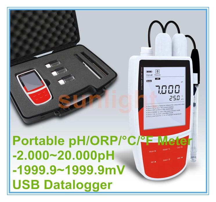 Handheld pH/ORP/temperatura 3 en 1 metro USB Datalogger viene con la solución de calibración