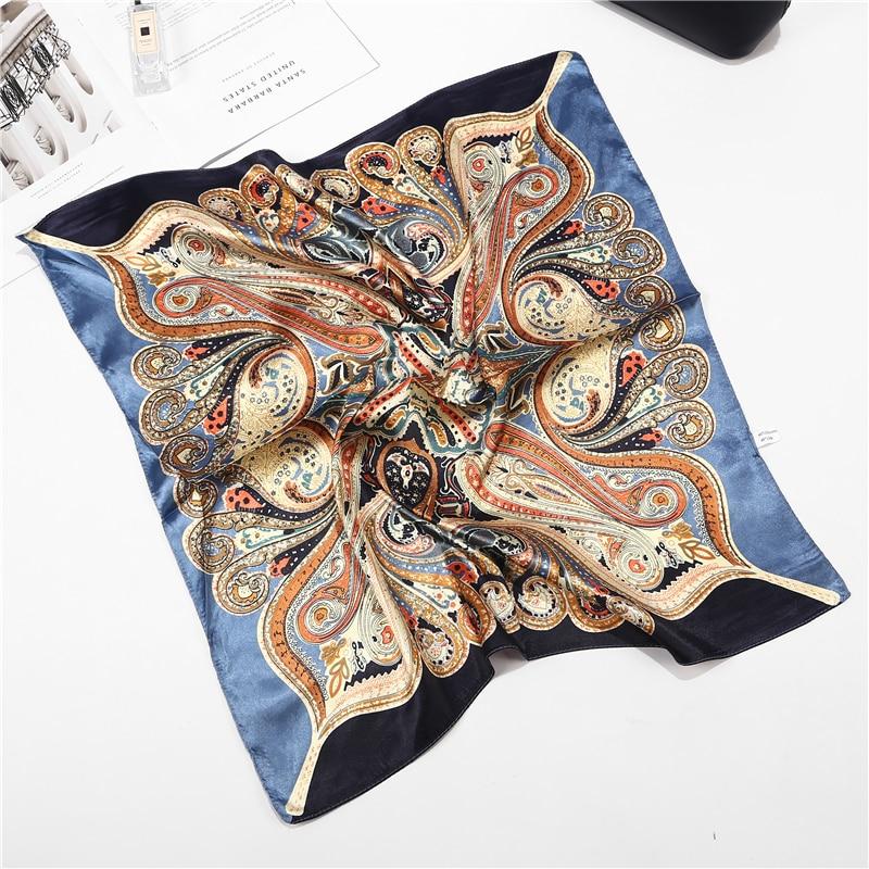 New Summer Luxury Brand Silk Square Scarf Women Plaid Wraps Retro Print Office Small Hair Neck hijabs foulard 60*60cm
