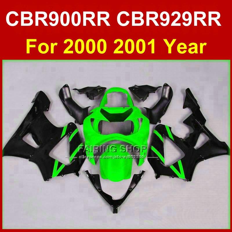 Kit de carenado negro y verde para motocicleta HONDA CBR 900RR CBR 929RR 00 01 carenados de plástico ABS 2000 2001CBR900RR CBR929RR