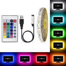 5V RGB Led Şerit USB Esnek Su Geçirmez En Iyi Led Şerit Işıkları TV arkaplan ışığı SMD2835 LED Diyot bant ışık HDTV için Masaüstü ekran