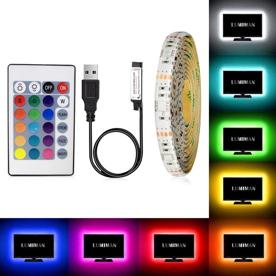 5V RGB Led tira USB Flexible impermeable mejor tira de luces Led TV Backlight SMD2835 LED diodo cinta de luz para HDTV escritorio pantalla