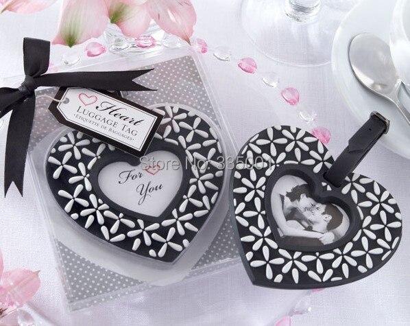Favor de la boda de regalo y regalos para invitados. Sigue a tu corazón blanco y negro del equipaje etiqueta Fiesta souvenir 100 unids/lote
