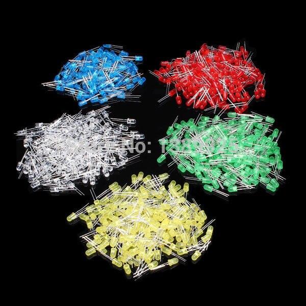 Freies Verschiffen 500Pcs 3MM LED Diode Kit Mixed Farbe Rot Grün Gelb Blau Weiß