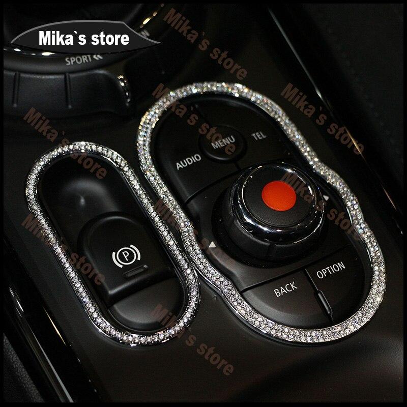 Gran oferta de accesorios de decoración para manillar de coche, con freno de mano y Círculo de cristal para Mini Cooper F54 F60, estilo de coche