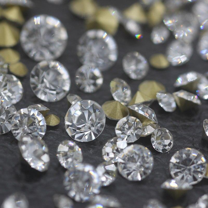 Diamantes de imitación con parte posterior de punto de SS0-SS45 Strass cristal blanco claro para decoración de uñas 3D accesorios de decoración de boda DIY