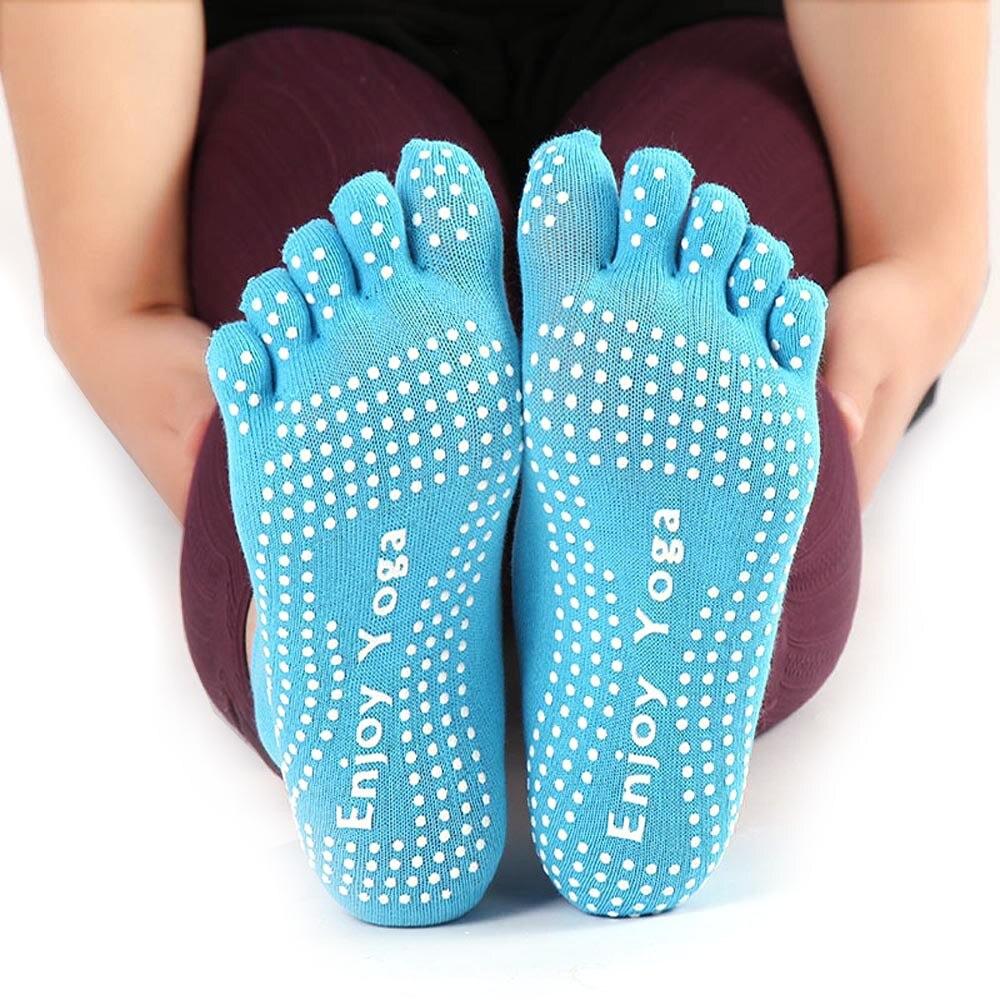 2019 novas mulheres de algodão colorido yoga ginásio não deslizamento massagem toe meias aperto completo com meias calcanhar