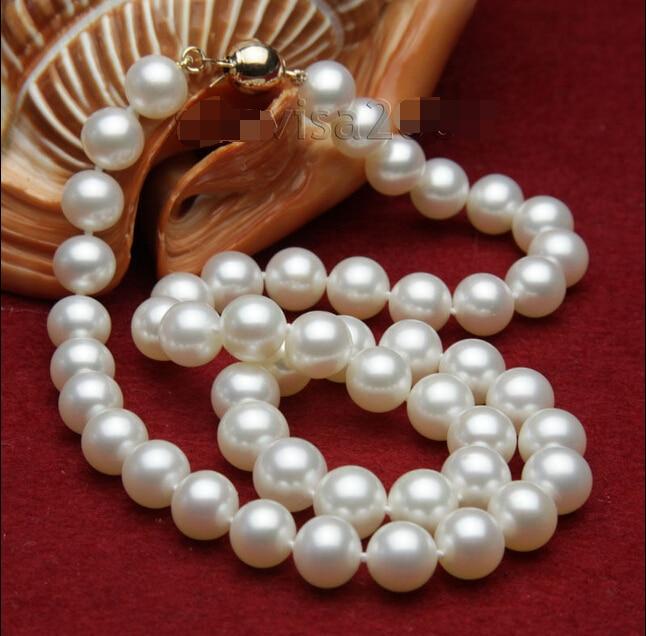 FREIES Großhandelsverschiffen> s171 2015 modeschmuck AAA + 10-11mm Weißen Süßwasser-zuchtperlen Halskette