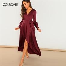 COLROVIE Burgundy V-Neck Belted Wrap Asymmetric Party Maxi Dress Women Clothing 2019 Spring Green Long Sleeve High Waist Dress
