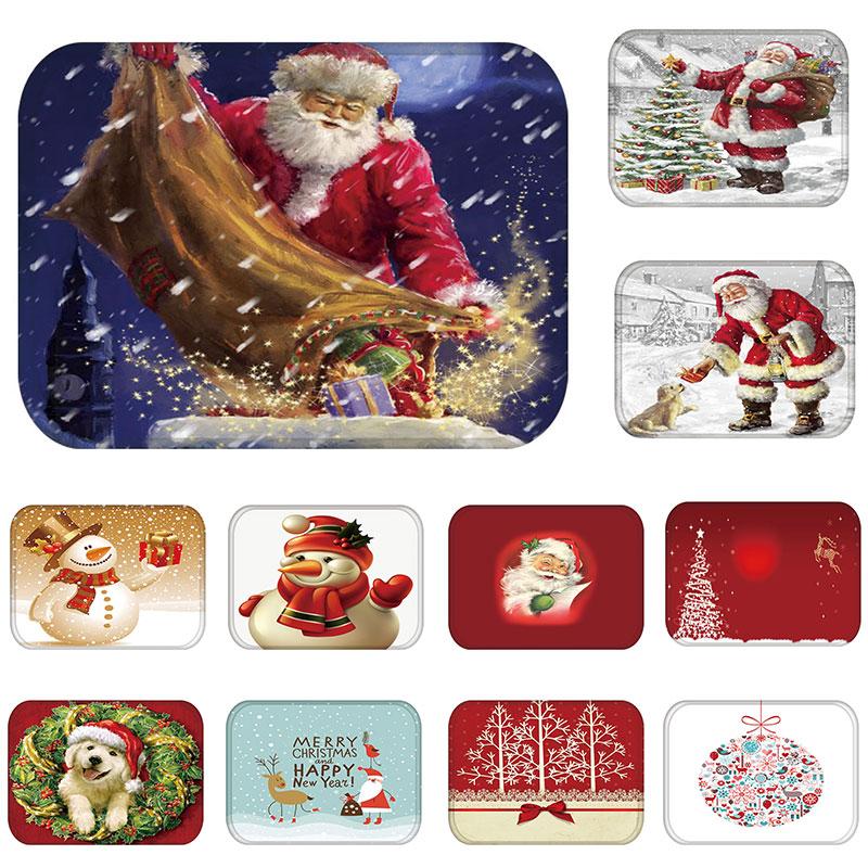 Felpudo de goma para pasillo de cocina, para el hogar de Santa Claus Felpudo de decoración navideña, alfombra antideslizante a prueba de polvo 48236-1