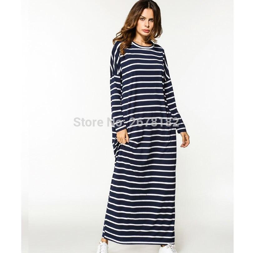 Fashion 2018 Autumn Womens Batwing Sleeve Long Dress Oversized Ladies Casual O-Neck Long Sleeve Striped Maxi Dress