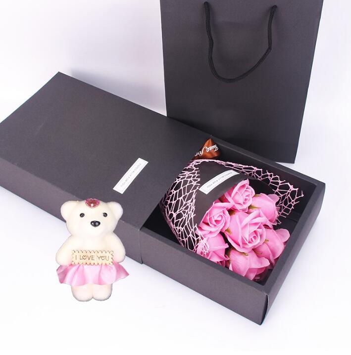 Ramo de flores artificiales siete flores de rosas de jabón con un oso de juguete regalo de San Valentín