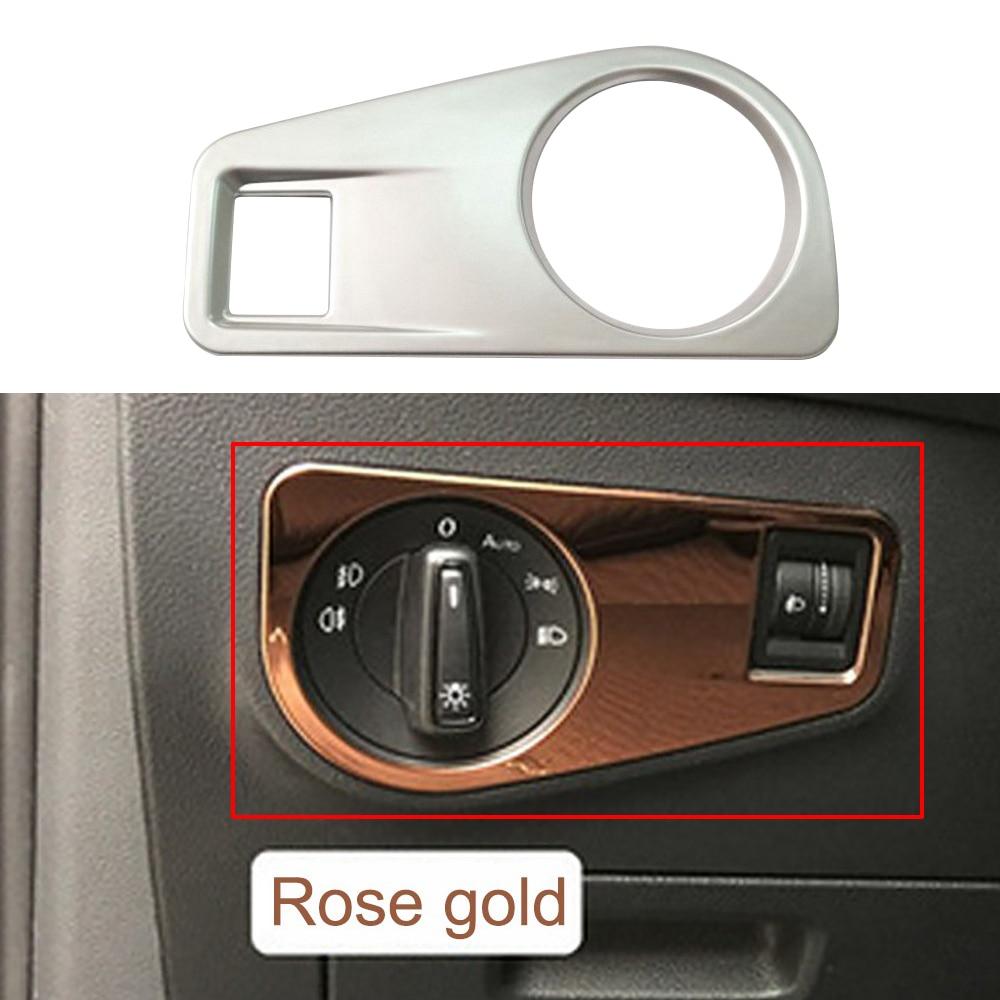 Auto LED Scheinwerfer Schalter Rahmen Für Volkswagen Neue Tiguan L 2017 Metall Auto Licht Schalter Abdeckung Innen Aufkleber