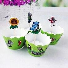 24 pcs plants vs Zombies Cupcake Wrappers Cupcake Toppers Baby Shower Kids Verjaardagsfeestje Bruiloft Decoratie Benodigdheden
