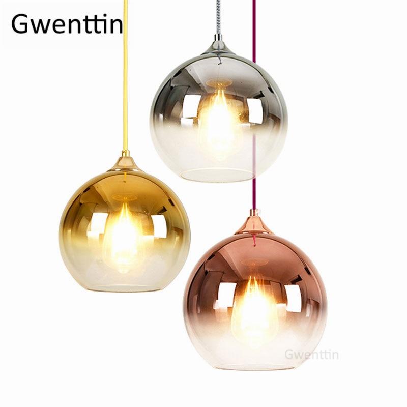 Gold Led Pendant Lights Modern Mirror Glass Hanging Lamp for Living Room Bedroom Kitchen Light Fixtures Suspension Luminaire E27