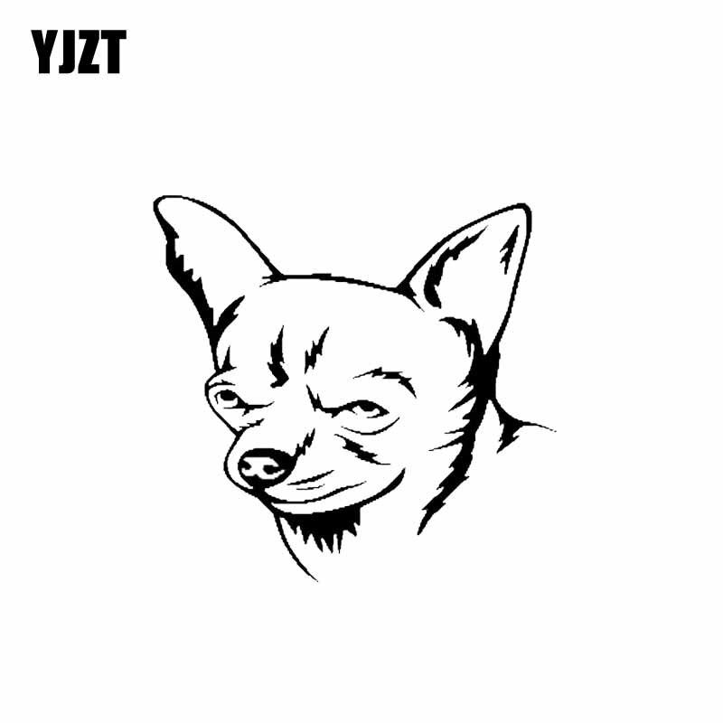 YJZT 11.9CM*11.3CM Chihuahua Dog Pet Puppy Vinyl Fashion Decoration Car Sticker Black/Silver C2-3287
